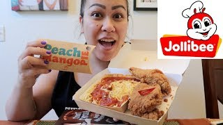 JOLLIBEE SPAGHETTI, SPICY FRIED CHICKEN & PEACH MANGO PIE | MUKBANG (EATING SHOW)