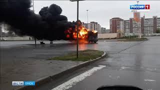 Сегодня утром в Омске на Левом берегу дотла сгорела маршрутка