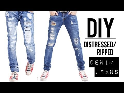 HOW TO: DISTRESSED DENIM JEANS (EASY) | DIY TUTORIAL ...
