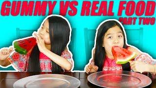 GUMMY FOOD VS REAL FOOD CHALLENGE #2 | Tran Twins