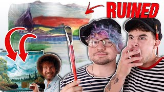 Bob Ross Painting Tutorial on BEST FRIEND'S WALL *FREAK OUT*