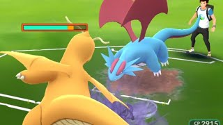 100iv dragonite v/s 100iv salamence with best exclusive moves.
