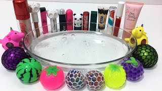 MIXING STRESS BALLS AND MAKEUP INTO CLEAR SLIME ! MOST SATISFYING SLIME VIDEOS   TOM SLIME