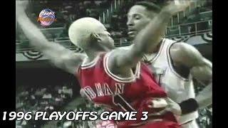 Alonzo Mourning vs Dennis Rodman Crazy Matchup in 1996 Playoffs Game 3!