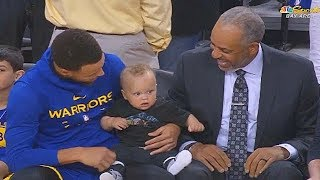 Stephen Curry Brings His Son To Work For The First Time! Warriors vs Hornets