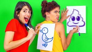 Ý TƯỞNG VUI NHỘN CHO ĐÊM QUẨY || Game Vẽ Trên Lưng! Trò Chơi Tiệc Tùng Của 123 GO! CHALLENGE