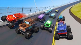 Race Cars Monster Trucks Daytona McQueen and Friends Mater The King Ivan Chick Hicks Video for kids