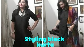 How to style black kurta in 6 different ways|Black kurta styling tips in hindi |The Homemaker - YouTube