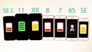 2020 iPhone SE vs iPhone 11 vs XR vs 8 vs 7 vs 6S vs SE Battery Life DRAIN TEST