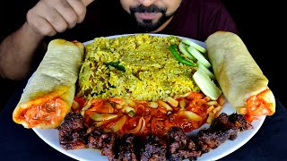 MUTTON BIRYANI, MUTTON SHEEKH KABAB, CHICKEN SHAWARMA, SALAD EATING | MUKBANG ASMR | #LiveToEATT