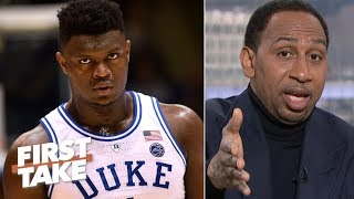 Jim Boeheim defending player who tripped Zion is 'utterly ridiculous' – Stephen A. | First Take