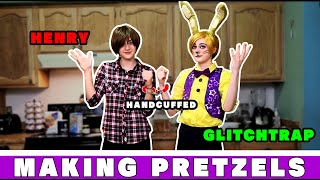 Two arch-enemies are forced to reconcile over pretzels... | Glitchtrap and Henry cosplays!