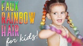 FAUX RAINBOW HAIR | Create easy crazy long colorful braids!