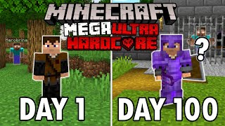 I Survived 100 Days in Mega Ultra Hardcore Minecraft... Minecraft Hardcore 100 Days