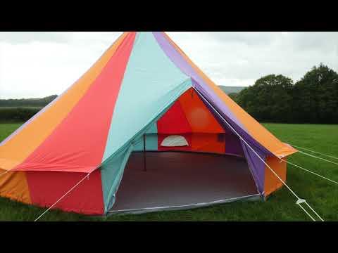 Boutique Camping 6m Regenbogenfarbenes Rundzelt mit Reißverschluss-Bodenplane