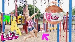LOL Surprise BIG Surprise Scavenger Hunt For LOL Dolls At The Outdoor Playground PARK with Kids!