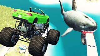 Beamng Drive - Jumping from springboard into mouth of huge shark (jumping crashes, big megalodon)