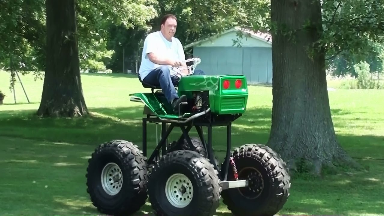 Monster Lawn Mower Driving - Homemade Lifted V-Twin ...