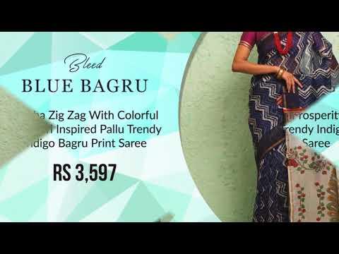 Shatika - Bagru Print Sarees: Indigo constructed Natural Dyed Bagru Print Sarees