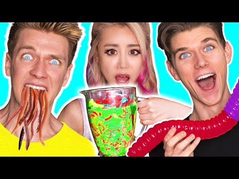GUMMY FOOD VS REAL FOOD SMOOTHIE CHALLENGE! SOUREST Giant Worm Toxic Waste! Wengie & Collins Key