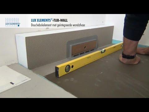 LUX ELEMENTS montage: Doucheafvoerelement van hardschuim TUB-WALL, met ingebouwde wandafvoer