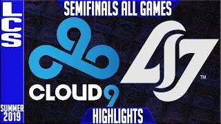 C9 vs CLG Highlights ALL GAMES | LCS Summer 2019 Playoffs Semifinals | Cloud9 v Counter Logic Gaming