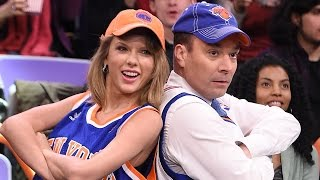 Taylor Swift & Jimmy Fallon Caught Dancing on the Jumbotron & Draw Each Other