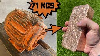 71 KG Motor Melt Down - Trash To Treasure - Huge Copper Bar - ASMR Metal Melting - Casting Copper