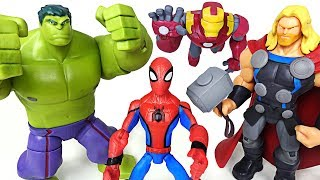 It blows dinosaurs in one punch! Disney Marvel Toybox Hulk, Spider Man, Iron Man! - DuDuPopTOY