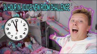 24 HOUR CHALLENGE IN JOJO'S NEW ROOM!!!