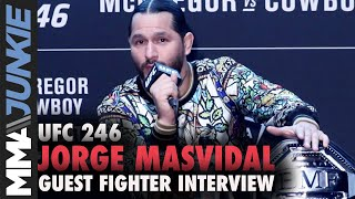 Jorge Masvidal talks to media at UFC Apex in Las Vegas during UFC 246 fight week