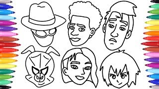 SPIDER-VERSE SPIDER-MAN // HOW TO DRAW ALL SPIDER-VERSE CHARACTERS FACES // SPIDERMAN COLORING PAGES