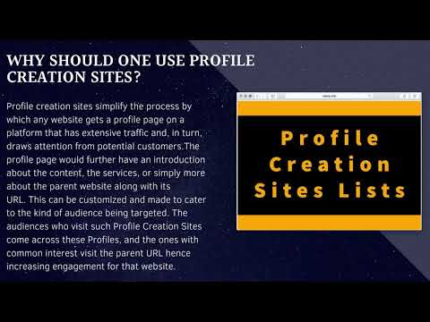 What is Profile Creation | Profile Submission Sites