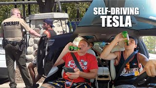 Drinking Fake Beer in a Self-Driving Tesla!