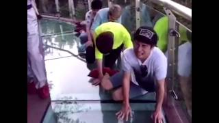 People scared so much when walking on the HIGHEST glass bridge in the world.