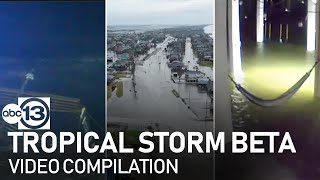 Tropical Storm Beta brings flooding and high winds to TX shore