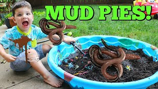Kid Playing Outside Making GIANT Mud Pies with REAL WORMS!