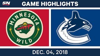 NHL Highlights | Wild vs. Canucks - Dec 4, 2018