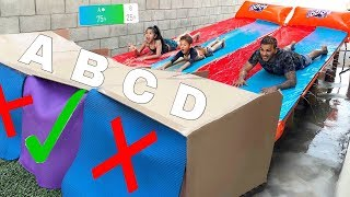 DON'T Water Slide through the Wrong Mystery Box!! (YOU DECIDE) | Familia Diamond