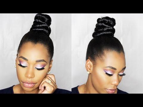 Natural Hair Faux Bang With Top Knot Bun Braiding Hair