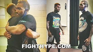 JERMALL CHARLO CELEBRATES WITH JERMELL CHARLO AFTER DEREVYANCHENKO WIN; GIVES ADVICE TO BEAT ROSARIO
