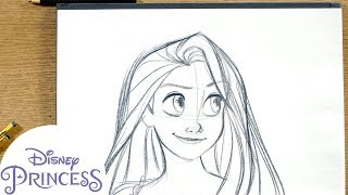 How to Draw Rapunzel from Tangled | Disney Princess