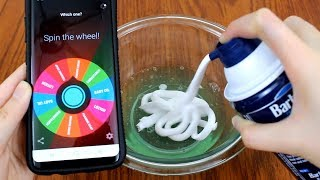 Making Slimes with a Spinner Wheel App! Mystery Slime Challenge