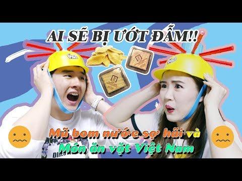 AI SẼ BỊ ƯỚT ĐẪM!! Mũ Bom Nước sợ hãi và món ăn vặt Việt Nam🇻🇳