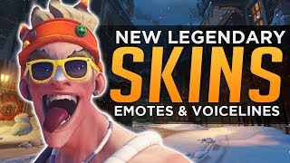 Overwatch: All NEW Legendary SKINS, Emotes, Voice Lines & Highlight Intros!