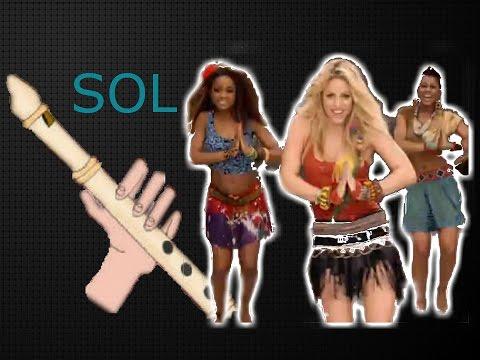 Waka waka, Shakira, flauta dulce fácil, tutorial con animación,