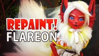 Repaint! Pokemon Flareon Custom OOAK Monster High Doll
