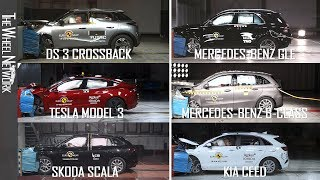 Euro NCAP Crash Tests Compilation – July 2019 | 3 Crossback, Ceed, B-Class, GLE, Scala, Model 3