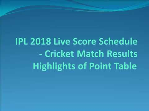 IPL 2018 Live Score Schedule - Cricket Match Results Highlights of Point Table