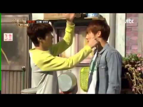 130518 High society - Sunggyu Woohyun cheek game (cut)